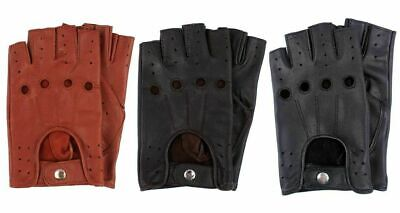 £5.99 • Buy Retro Real Leather Men Fingerless Driving Cycle Gloves Cycling Unlined Chauffeur