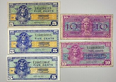 $12.50 • Buy Military Payment Certificates Series 521 3 5c Notes And 2 10c Notes Lot Of 5