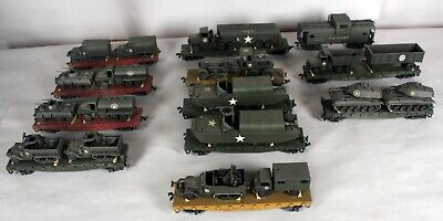$150 • Buy Trains Ho 11 Military Flat Cars With Vehicles & 1 Caboose