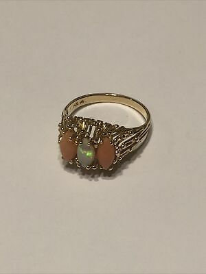 £138.16 • Buy 14k Gold Woman's Ring W/ Iridescent Fire Opal & Two Coral Stones Size 10