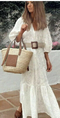 $59 • Buy Nwt Zara Ss2021 Dress With Cutwork Embroidery Oyster White 4786/095 Xs, S M