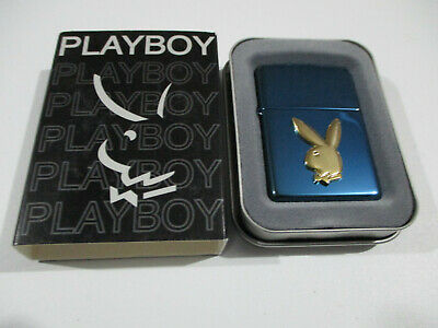 AU49 • Buy Zippo Lighter - Playboy - Sapphire Blue With Gold Raised Emblem - New In Tin