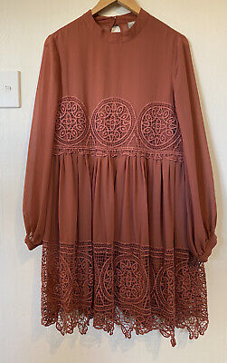 AU50 • Buy ASOS Tan Lace Mini Dress Bell Sleeves Size 18 Fit 16 Worn Twice