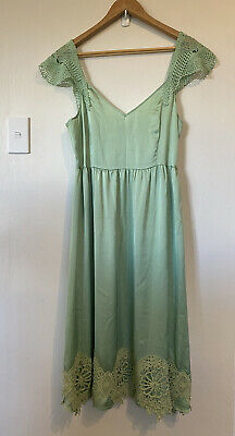 AU65 • Buy ASOS Mint Green Midi Dress With Cotton Lace Was $180 Size 14-16 Worn Once