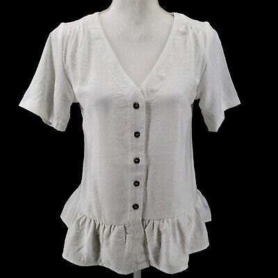 $ CDN39.40 • Buy ANTHROPOLOGIE SPARKZ Ruffled Off White Button Blouse SMALL And LARGE