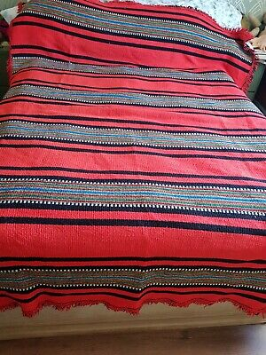£40 • Buy Vintage Large Mexican Red Chunky Woven Camping Campervan Blanket Throw