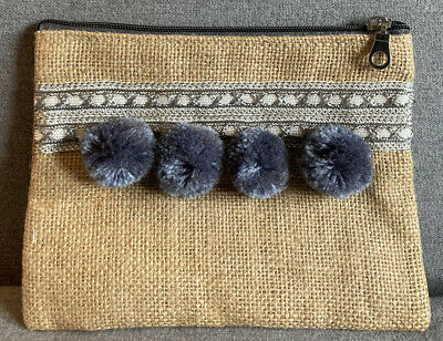 £2 • Buy Brand New Jute Summer Pouch, Clutch Bag, Pompom, Grey, Natural, 21x16cm
