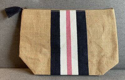 £3 • Buy Brand New Jute Summer Pouch, Clutch Bag, Pompom, Natural, 30x20cm, Blue, White