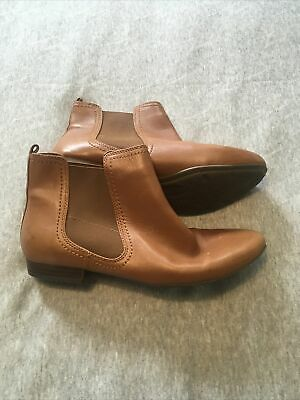 £10.60 • Buy Women's Clarks Tan Leather Flat Ankle Boots Size 6
