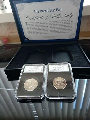 £25 • Buy Official Brexit 50p Coin Pair Set 1973 EEC Entry & 2020 Withdrawal From EU Boxed