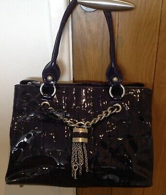 £25 • Buy Russell & Bromley Patent Leather Dark Purple Croc Effect Tote Bag