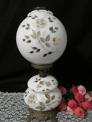 $69.95 • Buy Gwtw Double Ball Globe White Milk Glass W Gold Rose Flowers Table Lamp 3 Way 20