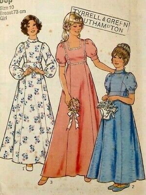 £7 • Buy VINTAGE 1970s STYLE SEWING PATTERN FOR GIRLS BRIDESMAIDS MAXI PRAIRIE DRESS