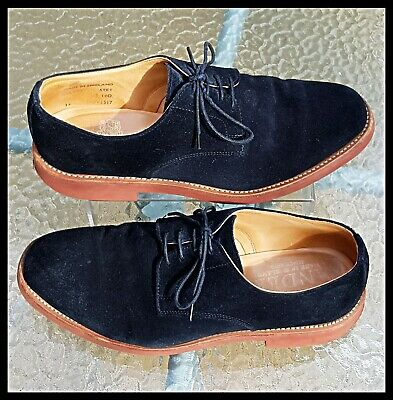 £39.95 • Buy Mens Sanders English Benchmade Suede Lace Up Derby Shoes Boxed Navy Blue 9uk
