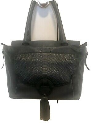 AU42 • Buy Mimco Black Leather Shoulder Bag, Tote With Tassel. In Great Condition