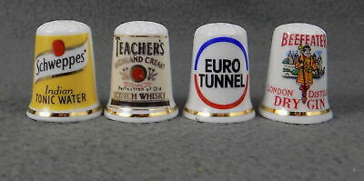 £4.49 • Buy Set Of Four Bone China Thimbles New Schweppes, Teachers, Euro Tunnel, Beefeater
