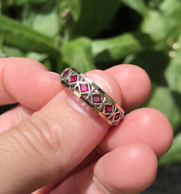 £180 • Buy 9ct White & Yellow Gold Vintage Ruby Eternity Ring Size P3/4 - Q