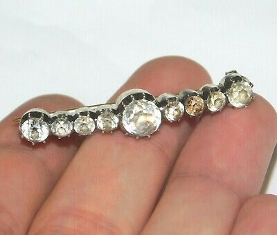 £9.99 • Buy Antique Georgian French Solid Silver Old Cut Black Dot Diamond Paste Brooch