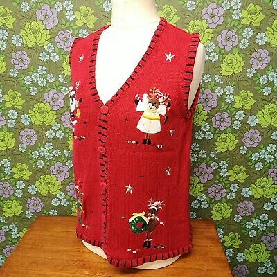£19.99 • Buy Vintage Red Reindeers Knitted Ugly Christmas Pullover Tank Top (jumper) Sz L