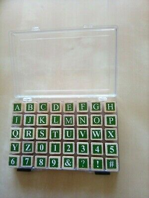 £1.50 • Buy Wood Mounted Rubber Stamps In Storage Box, Upper Case Alphabet & Numbers,