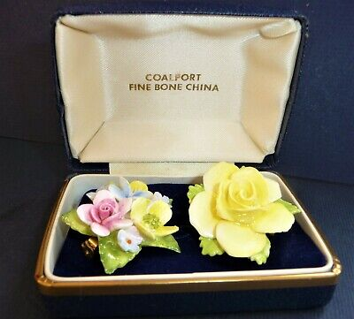 £11.99 • Buy 2x Vintage Boxed Coalport Porcelain Brooch Pin China Floral Flowers Yellow Rose