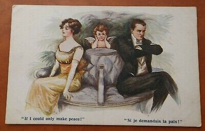 £4 • Buy INTER-ART COMIQUE COMIC POSTCARD 1364  IF I COULD ONLY MAKE PEACE C.1910's