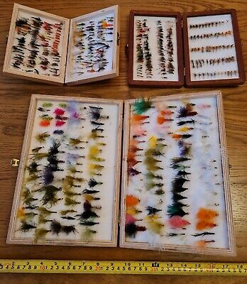 £21 • Buy HAND TIED TROUT Fly FISHING FLIES 3 Wood Boxes Stuffed NYMPHS LURES & MORE