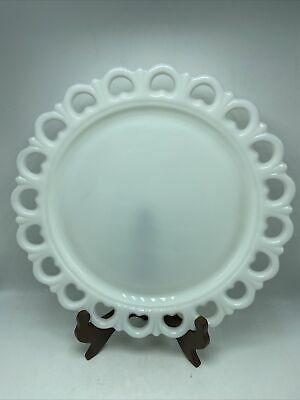 """$25 • Buy Milk Glass Heart Lace Cake Plate Large Round Serving Platter 13"""" Vintage"""