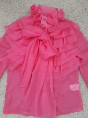 £5 • Buy Blouse Sheer Bright Pink Summer Blouse With Frills And Bow Size S