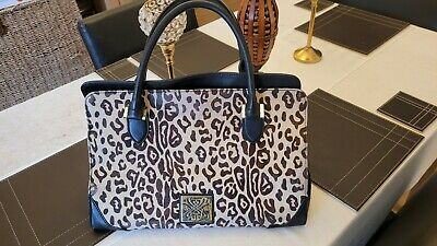 £29.99 • Buy Biba Large Leopard Print Leather Bag With Metal Clasp - Very Good Condition