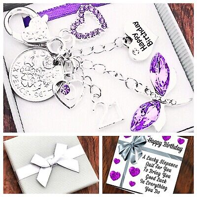 £4.45 • Buy 16th,18th, 21st BIRTHDAY Gift, LILAC DRAGONFLY, SIXPENCE Keying, 40th 50th 60th