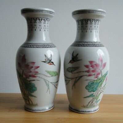 £69.99 • Buy Chinese Antique Famille Rose Handpainted Pair Vase Porcelain Signed China
