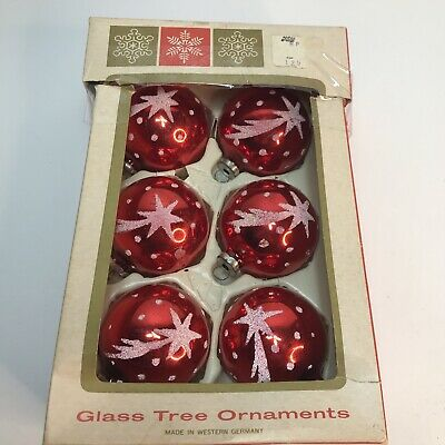 $ CDN27.69 • Buy Lot Of 6 Vintage Christmas Ornaments  Western Germany Red Glittery Shooting Star