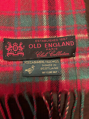 $27.95 • Buy OLD ENGLAND PARIS FRANCE Club Collection Made In Scotland Cashmere Wool Scarf 🧣