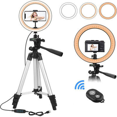 AU31.79 • Buy 10 Inch Led Ring Light Selfie Makeup Live Lamp With Tripod +Phone Holder +Remote