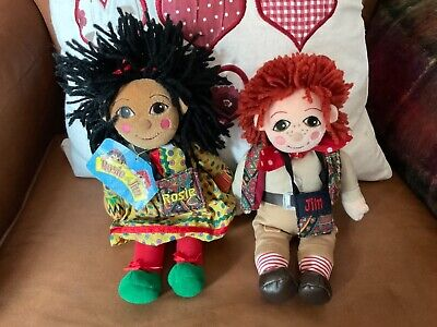 £74.99 • Buy Rosie & Jim Canal Narrowboat Plush Beanie Rag Dolls With Their Tote Bags & Tag!!