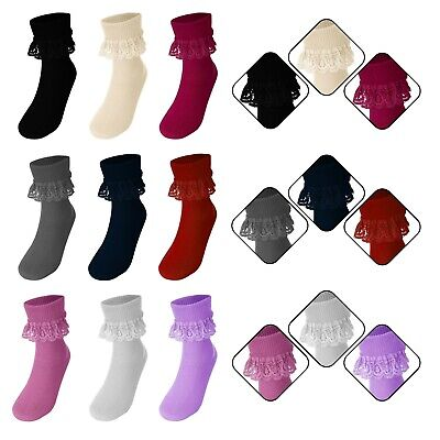 £2.70 • Buy Girls Ankle High Frill Lace Top Retro Style Ruffled Lace Trim Socks 1 Pair New