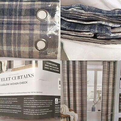 £10 • Buy Next Curtains Ludlow Woven Check 117 X 137cm Blue/grey/pink/purple/cream (new)
