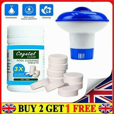 £9.94 • Buy 100X Pool Cleaning Tablets ✨ Floating Chlorine Hot Tub Dispenser Chemical Kit