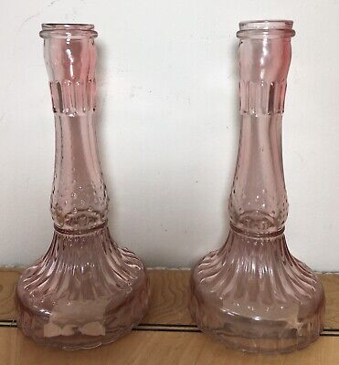 £9.95 • Buy Pair Of Opulent Pink Cut Glass Retro Style Candlesticks Vintage Look