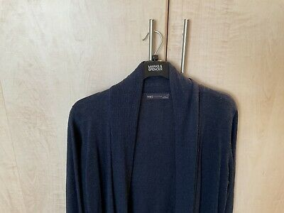 £10 • Buy Marks And Spencer Longline Waterfall Cardigan Size Large Colour Navy