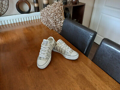 £24.99 • Buy Converse All Star Beige & Silver Sequin Lows Size Uk 3 Euro 35