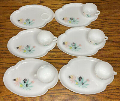 $59.99 • Buy Vintage Federal Milk Glass ATOMIC FLOWER DESIGN Set Of 6 Snack Plates And 5 Cups