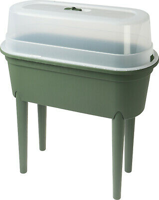 £29.99 • Buy Large Green Plastic Plant Pot With Lid Tall Garden Planter Grow Table Raised Bed