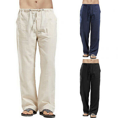 £14.49 • Buy UK Mens Cotton Linen Flare Pants Casual Loose Straight Elastic Waist Trousers