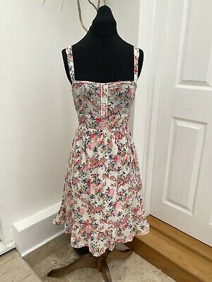£7 • Buy Pretty Pepe Jeans Floral Cottage Core Sleeveless Summer Pockets Dress Size XL 14
