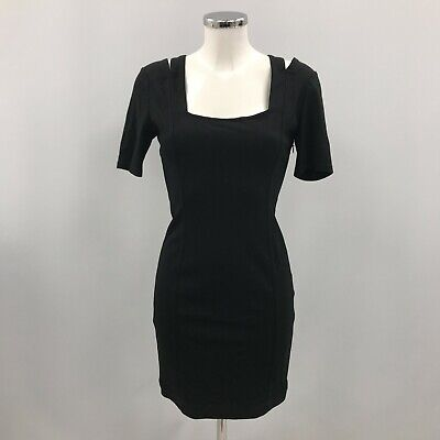 £6.99 • Buy Reiss Bodycon Dress Black Size Small Square Neckline Short Party Occasion 180982