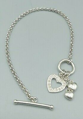 £16.99 • Buy Pretty 925 Sterling Silver CZ Heart And Heart Droplet T- Bar / Toggle Bracelet.