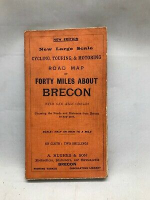 £0.99 • Buy Vintage Map A Hughes And Sons Forty Miles About BRECON Cloth Map Cycling Touring