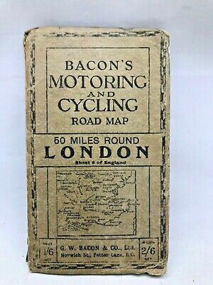 £3.50 • Buy Vintage Map Bacons Motoring And Cycling Road Map 50 Miles Around LONDON